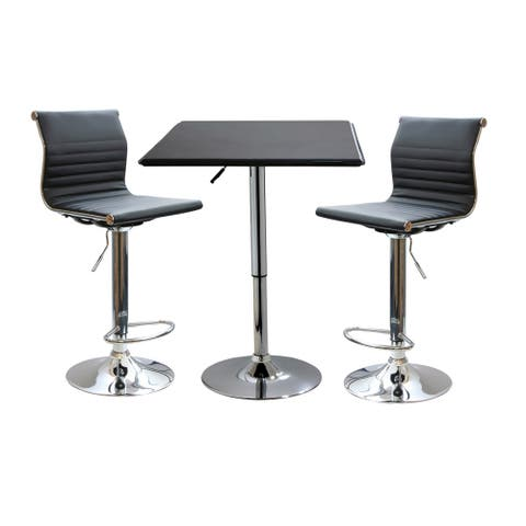 Offex 3 Piece Contemporary Adjustable Height Bar Set with Table and Stool