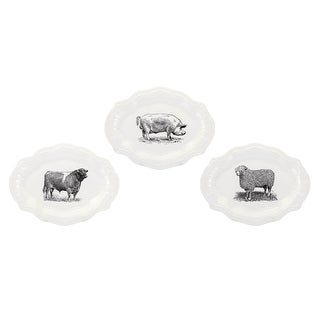 IMAX Home A0319135  Maye Ceramic Decorative Plates - Set of 3 - White