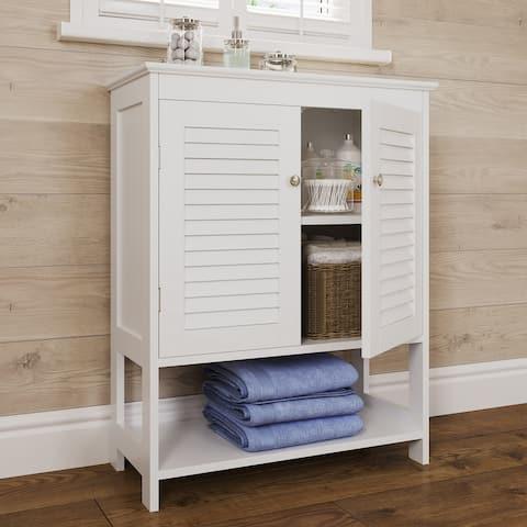 Ellsworth Two-Door Floor Cabinet with Open Shelf, White