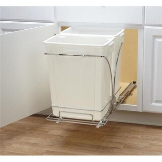 Household Essential 19 in. Sliding Trash Can-Double-KD Chrome NEW