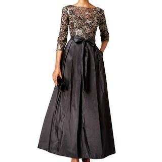 Alex Evenings NEW Black Womens Size 10 Lace Sequin Bow-Tie A-Line Gown