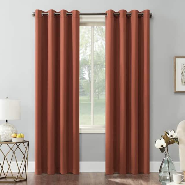 Sun Zero Hayden Energy Saving Blackout Grommet Curtain Panel, Single Panel - 54 x 108 - Terracotta