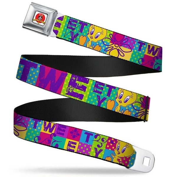 Looney Tunes Logo Full Color White Tweety Letter Blocks Polka Dot Multi Seatbelt Belt