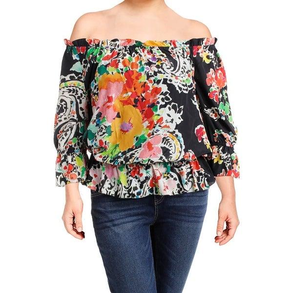 8267f8636070e6 Shop Lauren Ralph Lauren Womens Ordisty Blouse Sheer Printed - Free ...