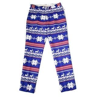 Calvin Klein NEW Red Blue Mens Size XL Fair-Isle Flat-Front Pants