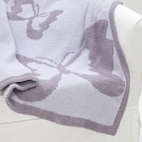Lambs & Ivy Signature French Lavender Purple/White Reversible Butterfly Chenille Knitted Baby Blanket