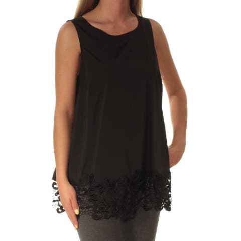 28222c6558ea3 ALFANI Womens Black Lace Sleeveless Jewel Neck Top Size  4