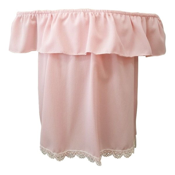 d9b904aa57e6f Shop Little Girls Pink Overlay Lace Trim Scalloped Hem Off-Shoulder Top -  Free Shipping On Orders Over  45 - Overstock - 19293238