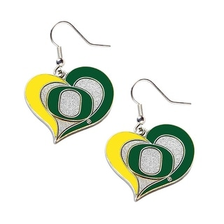 Oregon Ducks Swirl Heart Dangle Logo Earring Set Charm Gift NCAA