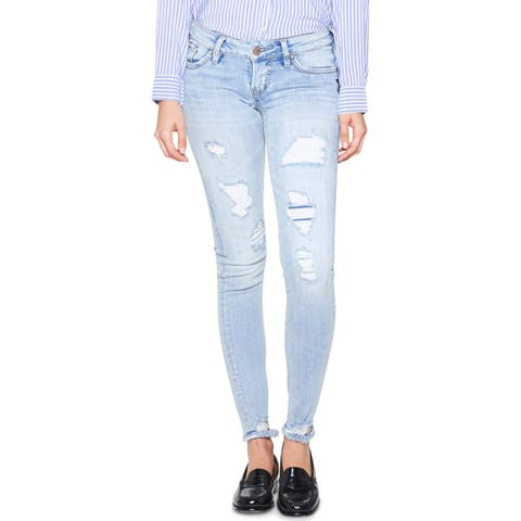 Silver Jeans Co. Womens Tuesday Skinny Jeans Distressed Light Wash