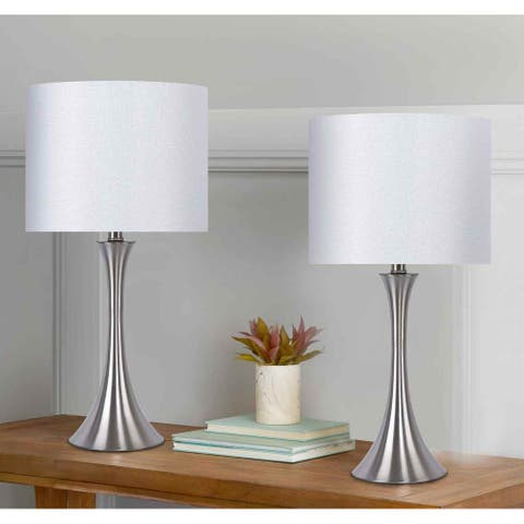 Porch & Den Bakkom Brushed Nickel 24.25-inch Table Lamp Set