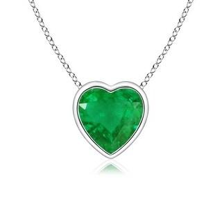 Angara Bezel Set Solitaire Heart Shaped Emerald Pendant - Green