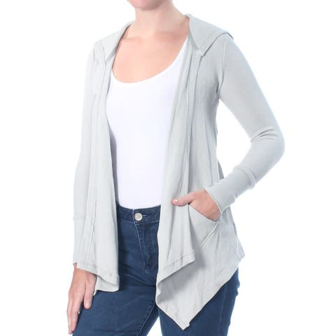 STYLE & COMPANY Womens Gray Drape Front Hooded Cozy Cardigan Long Sleeve Sweater Petites Size: S