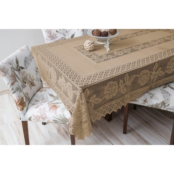 Tablecloth Grega Design Brazilian Lace 59x86 Inches Ocher Color 100 Percent Polyester