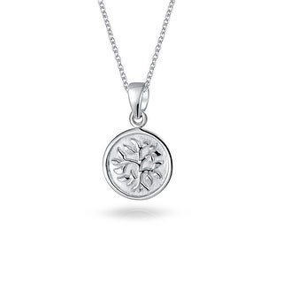 Reversible Tree of Life Disc Pendant Sterling Silver Necklace 18 Inches