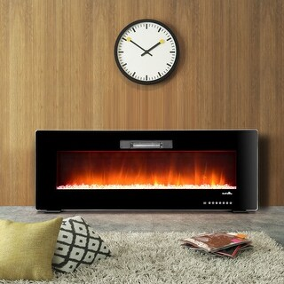 "50"" Recessed Electric Fireplace, In-wall& Wall Mounted & standing Electric Heater, Remote Control,Touch screen - Black"