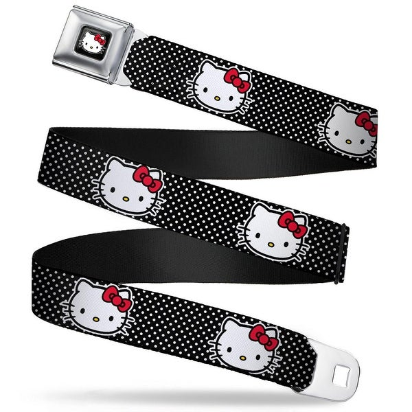 Hello Kitty W Red Bow Full Color Black Hello Kitty Face Mini Polka Dot Seatbelt Belt