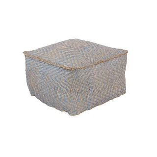 "20""Baby Blue and Dark Beige Upholstered Woven Foot Stool Ottoman"