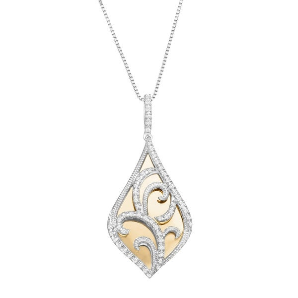 1/4 ct Diamond Filigree Overlay Pendant in Sterling Silver & 10K Gold