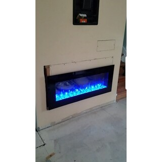 """PuraFlame 50"""" Alice In-Wall Recessed Electric Fireplace, Touch Screen Control Panel, Remote Control, 1500W, Black"""