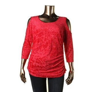 NY Collection Womens Velvet Burnout Pullover Top