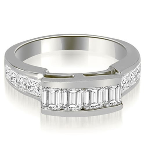 1.40 cttw. 14K White Gold Channel Diamond Princess and Emerald Cut Wedding Band