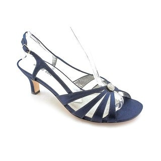 David Tate Rosette Women SS Open-Toe Canvas Blue Slingback Heel