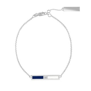 Villanova University Sterling Silver Diamond Bar Chain Bracelet in Blue & White
