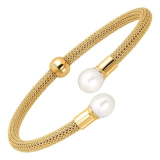 Honora Mesh Cuff Bracelet with Freshwater Pearls in 18K Gold-Plated Sterling Silver