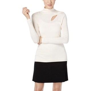 Catherine Malandrino Womens Turtleneck Sweater Cut-Out Long Sleeves