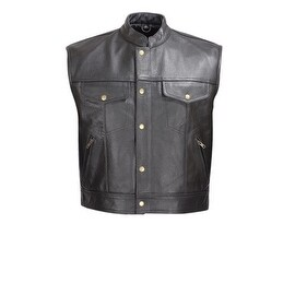 Men Leather Motorcycle Biker Vest Classic Design Black by Xtreemgear MBV110