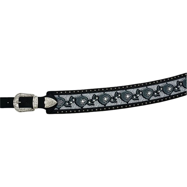 Angel Ranch Western Belt Womens Laced Distressed Studs Black