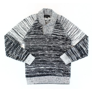INC NEW Black Grey Men Size XL Marled Shawl Collar Quarter Zip Sweater