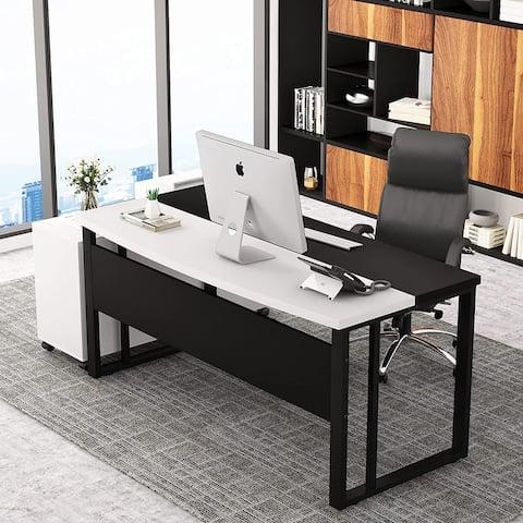 Large Computer Office Desk, Modern Executive Desk with Splice Board