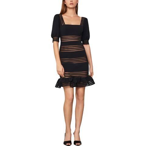 BCBG Max Azria Women's Sheer Striped Puff Sleeve Ruffled Mini Dress