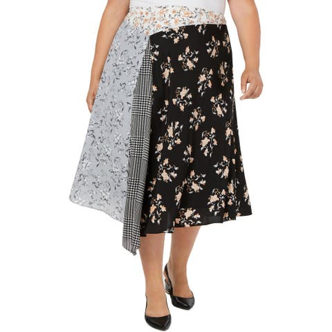 Calvin Klein Womens Plus Midi Skirt Asymmetric Printed - Black Multi