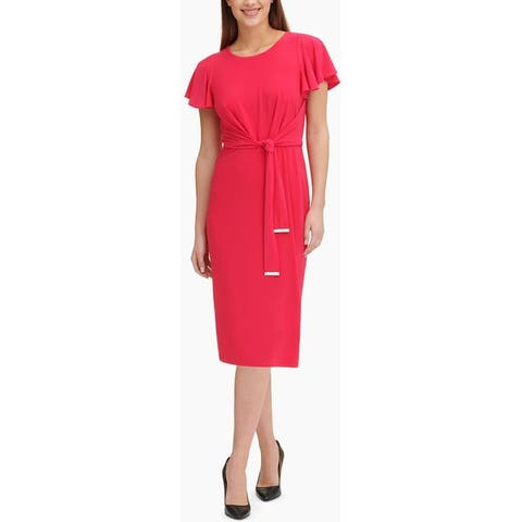Tommy Hilfiger Womens Midi Dress Jesey Tie Front - Pink