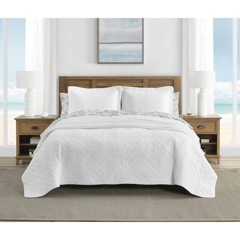 Tommy Bahama Solid Chevron Cotton Reversible White Quilt Set