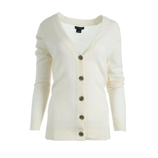 Private Label Womens Cashmere Ribbed Trim Cardigan Sweater - M