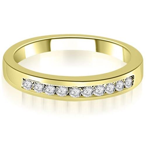 0.25 cttw. 14K Yellow Gold Channel Set Round Cut Diamond Wedding Band,HI,SI1-2