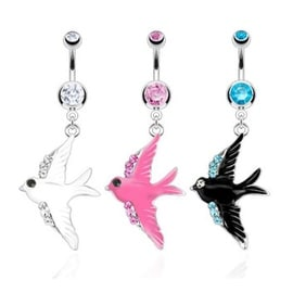 Enamel Colored Swallow with Line of CZ on Wings Dangle Surgical Steel Navel Belly Button Ring (Sold Ind.)