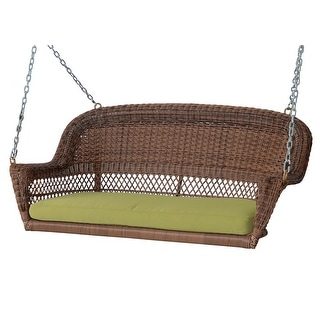 """51.5"""" Hand Woven Honey Brown Resin Wicker Outdoor Porch Swing with Green Cushion"""