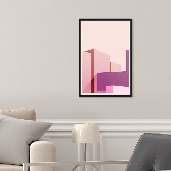 Oliver Gal 'Freeshape Building 4' Architecture Pink Wall Art Canvas. Opens flyout.