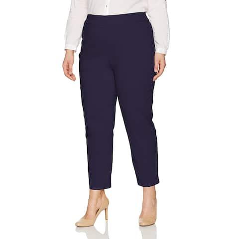 Alfred Dunner Navy Blue Women's Size 14X27 Slim Leg Dress Pants Stretch