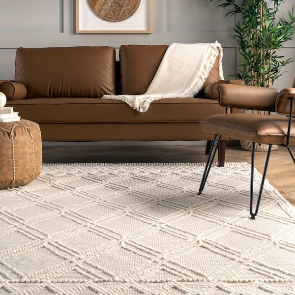 Nuloom Handmade Wool Cotton Contemporary Argyle Trellis Area Rug On Sale Overstock 26280811