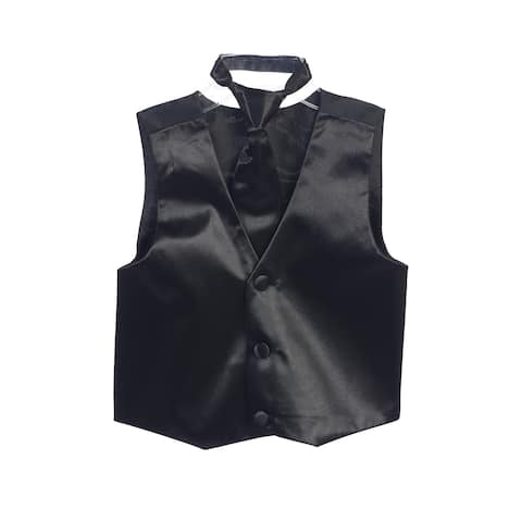 Boys Black Three Button Satin Vest Tie 2 Pc Set