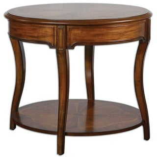 """32"""" Casale Pecan Brown Inlaid & Carved Wood Oval Accent Side Table"""