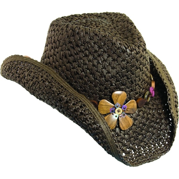 23eed267b0b Dorfman Pacific Women  x27 s Crocheted Toyo Western Cowgirl Hat with Flower