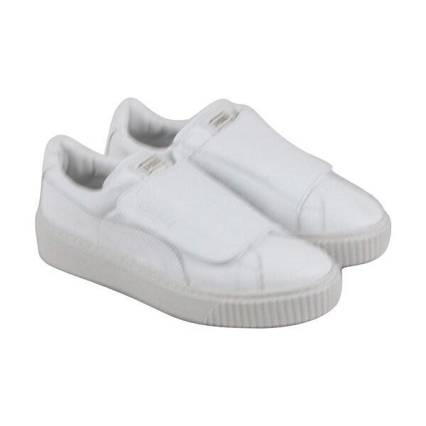 98c88cf43127c2 Shop Puma Basket Platform Womens White Leather Strap Strap Sneakers ...