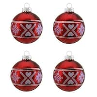 "4ct Alpine Chic Shiny Red with White Fair Isle Design Glass Ball Christmas Ornaments 2.5"" (65mm)"